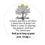 Personalised Thank you for being my Sponsor Standing Circle Plaque